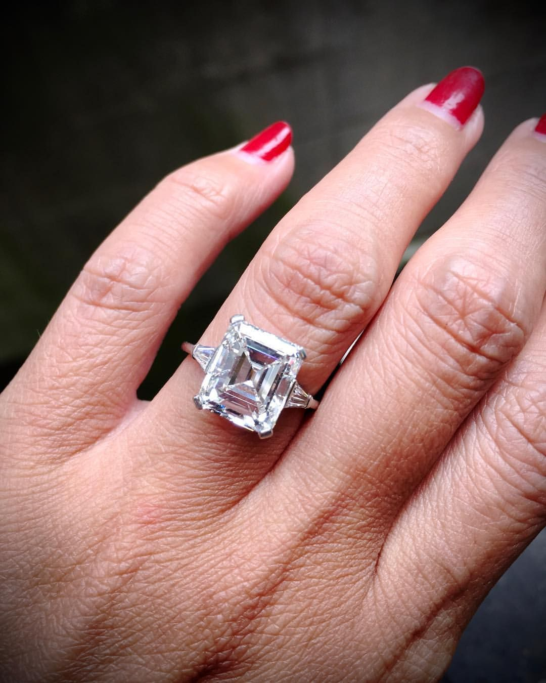 An emerald cut diamond ring is so classic and elegant. It\'s ...