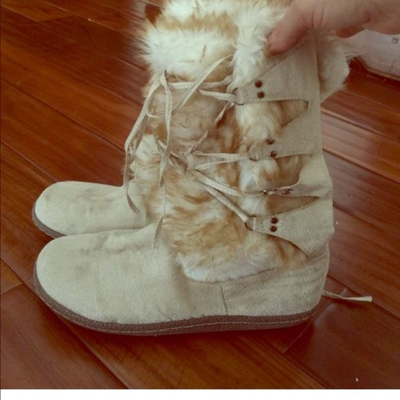 Winter fur boots with rubber soles Easy entry super soft lace up overlay to custom fit Shoes Winter & Rain Boots