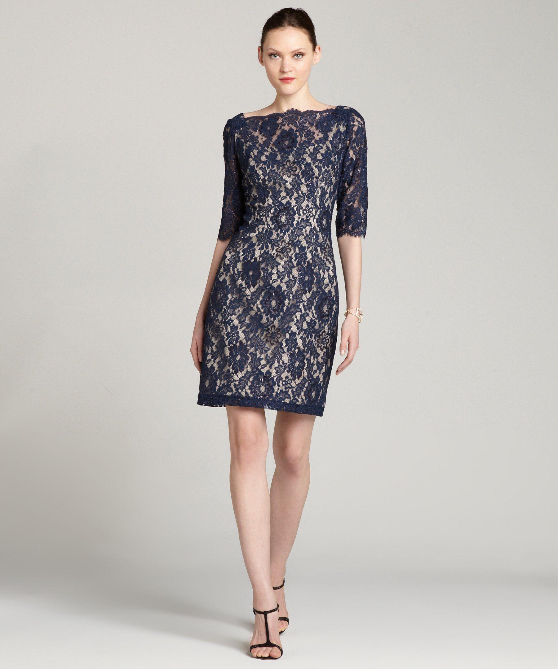 Single navy metallic lace 'Hepburn' 3/4 sleeve dress   BLUEFLY up to 70% off designer brands $111