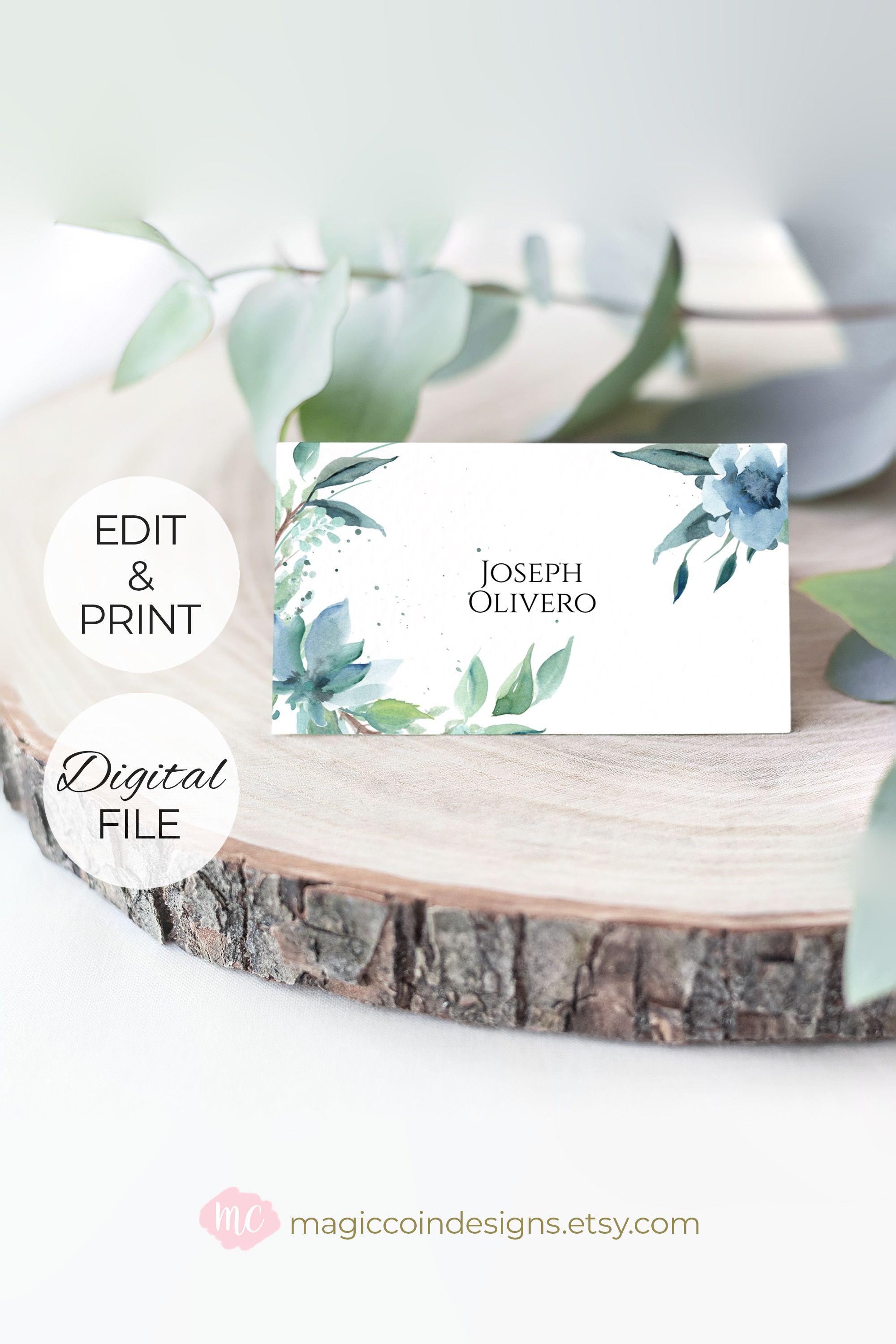 Floral Place Card Blue Floral Wedding Place Cards Template Etsy Wedding Place Card Templates Wedding Place Cards Place Card Template