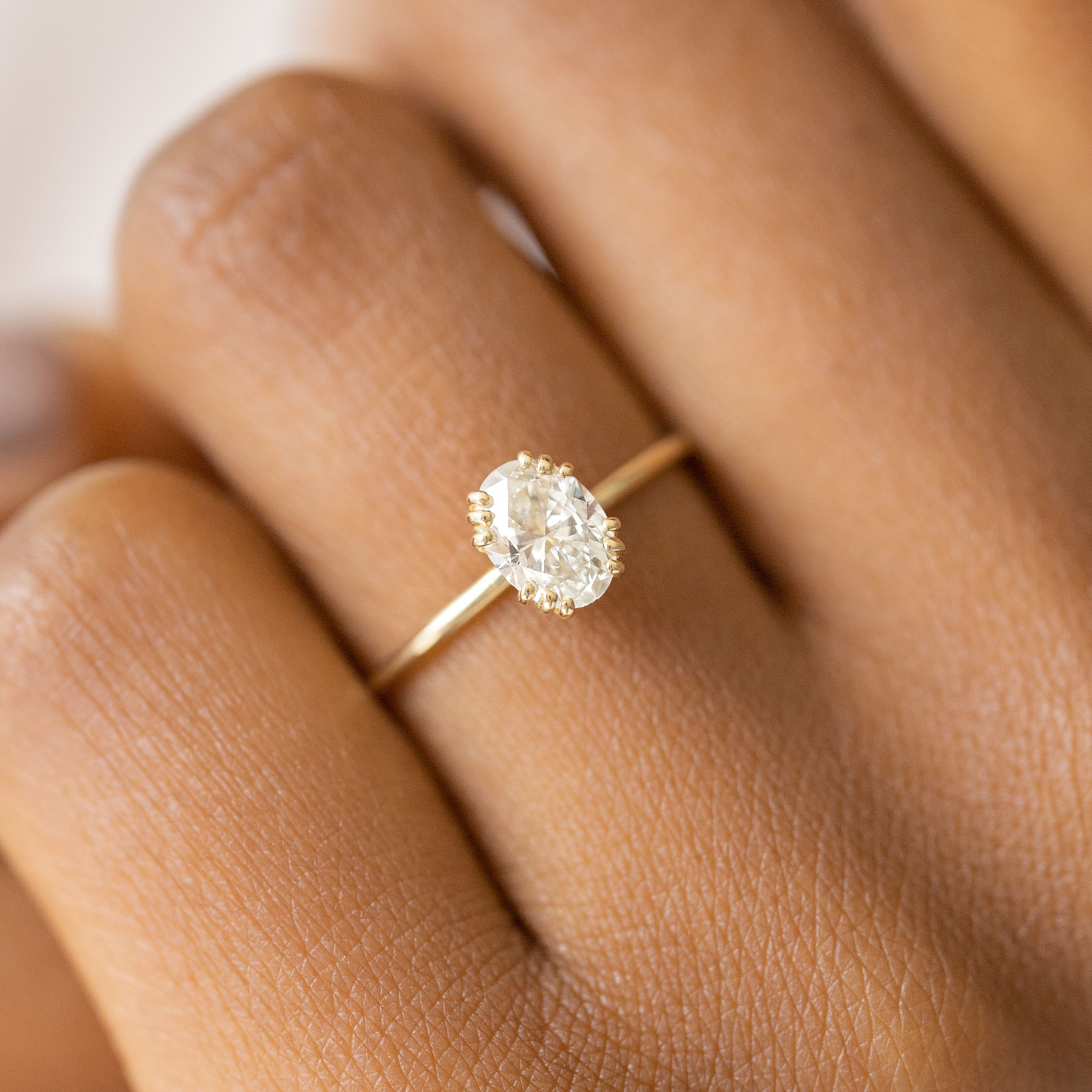 Unveiled Ring 0 7ct Oval Diamond Morganite Engagement Ring Set Diamond Wedding Bands Prong Engagement Rings