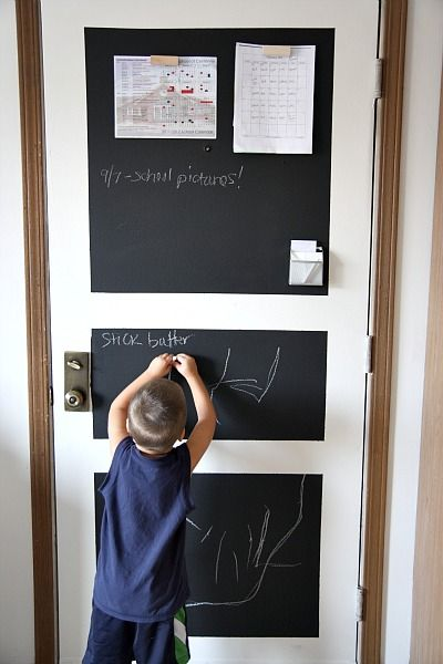 chalkboard and magnetic paint on garage door for message center