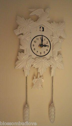 White Modern Mock Cuckoo Clock Battery Operated Wall Ebay