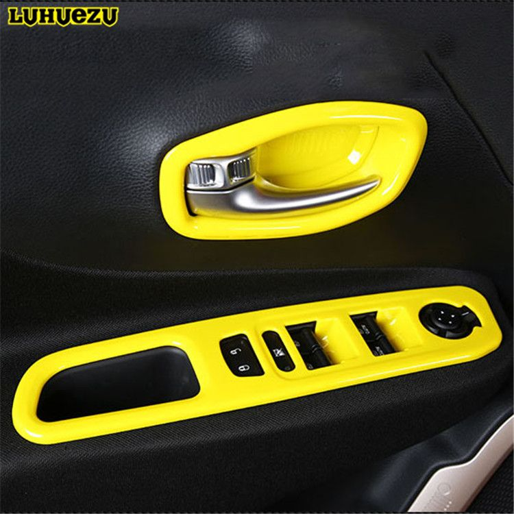 Abs Painted Interior Door Handle Bowl Car Window Lift Switch Styling Trims For Jeep Renegade Accesso Painted Interior Doors Doors Interior Interior Accessories