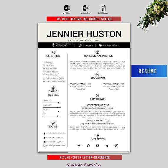 Professional resume template Modern resume/CV template Instant - download word resume template