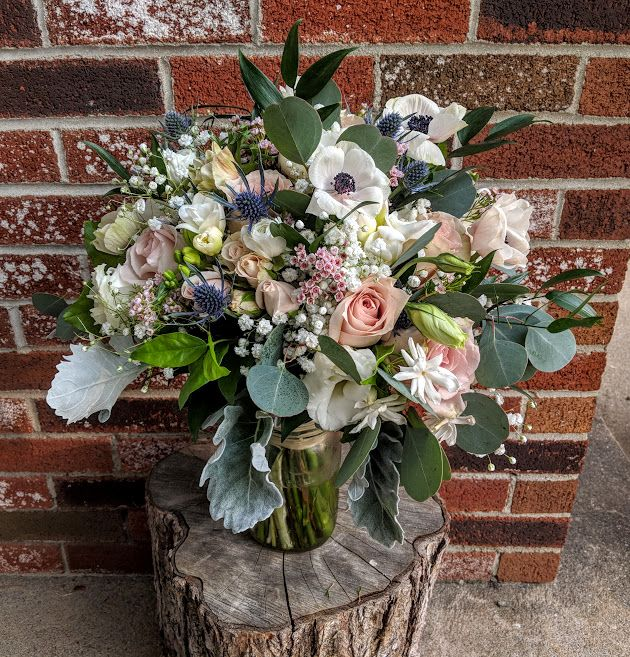 Blush Roses, Thistle, Anemones, And Eucalyptus