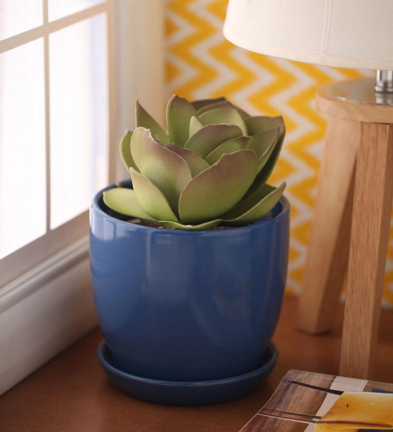 Buy Blue Ceramic Glazed Table Top By Gaia Online Big Planters Pots Planters Home Decor Pepperfry Product Blue Ceramics Planter Pots Ceramic Materials
