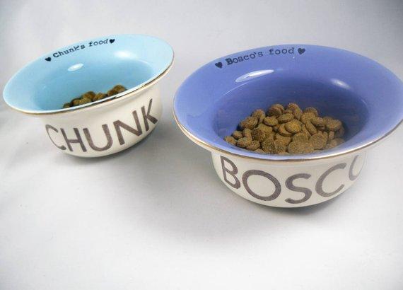 Set Of 2 Custom Dog Bowls Handmade Heavy Duty Ceramic