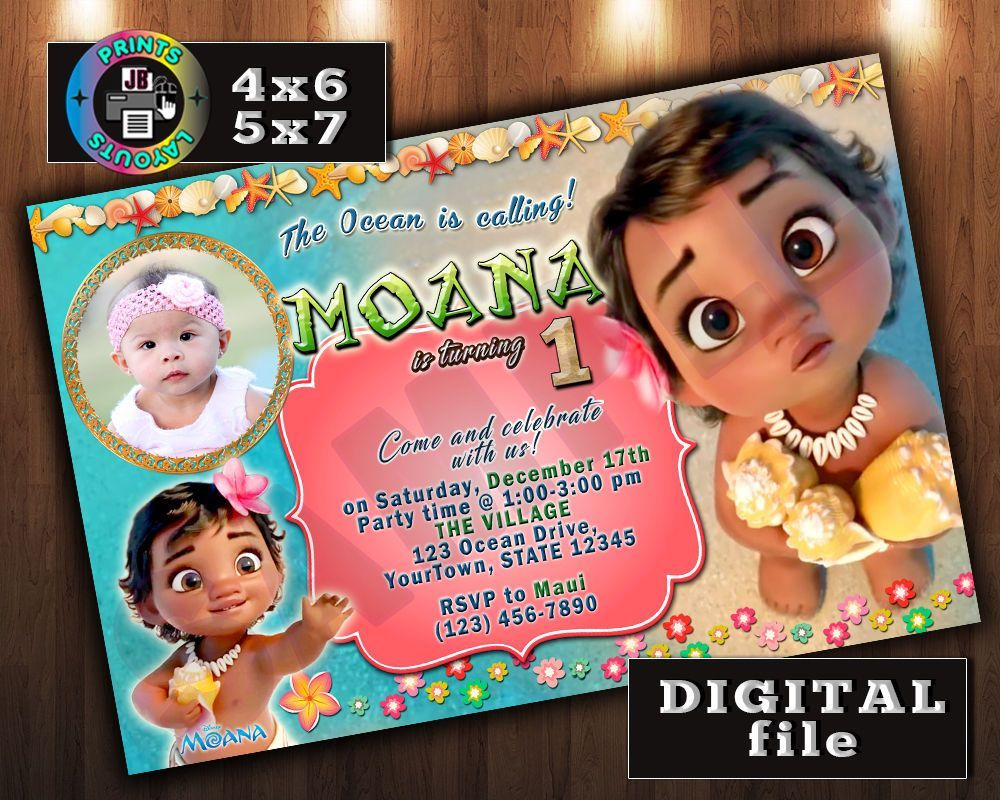 Baby Moana Disney Birthday Invitation Any Age Digital File W Photo D5