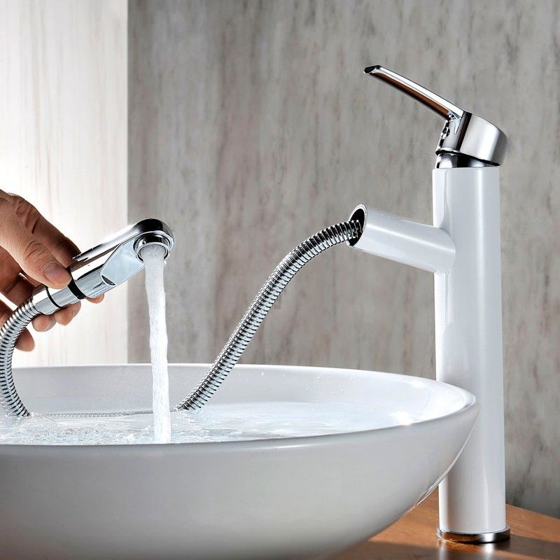Chaf Single Handle Vessel Sink Faucet Pullout Spray Chrome White