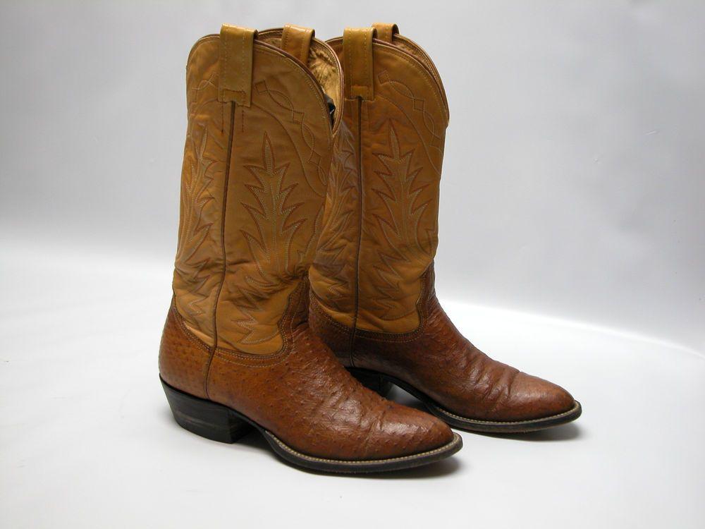 c5c6ea6ffc8 Nocona Exotic Cognac Smooth Ostrich Leather Ropers Western Cowboy ...