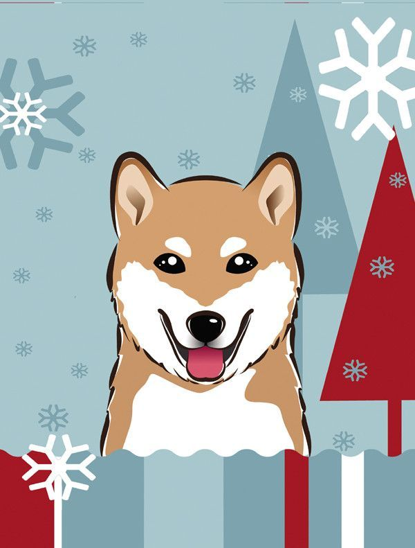 Winter Holiday Shiba Inu Flag Canvas House Size BB1721CHF