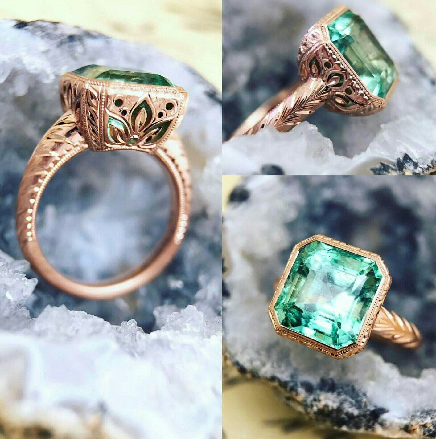 sterling store in us designer filigree size ring columbian renaissance italian emerald set silver