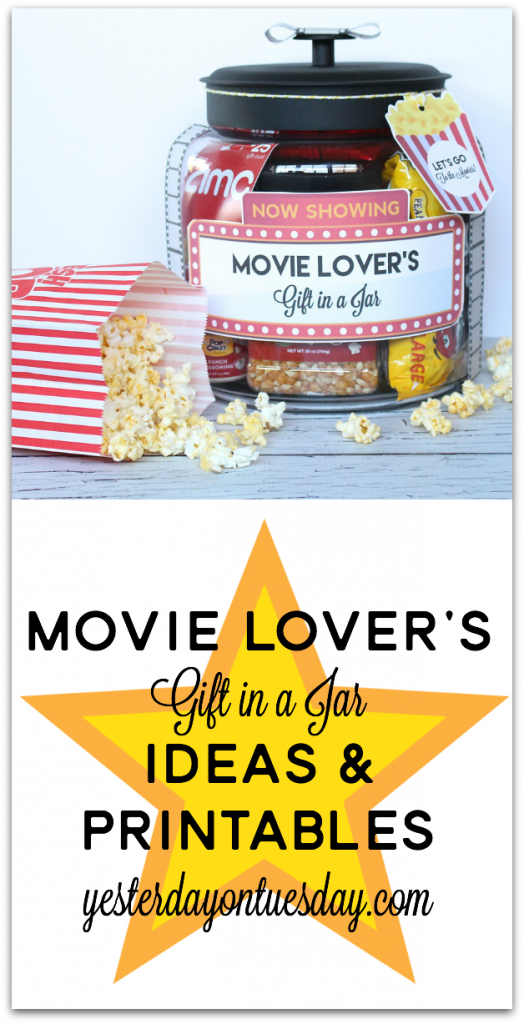 Movie Lover S Gift In A Jar Yesterday On Tuesday Jar Gifts Movie Lover Gift Mason Jar Gifts