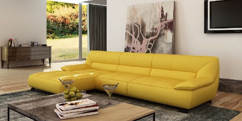 Yellow Leather Sectional Sofa In Latest Style 소파