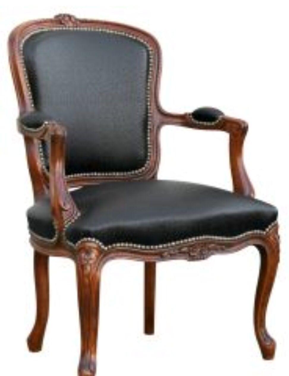 Piel negra en sill n luis xv sillones y sillas - Silla luis xiv ...