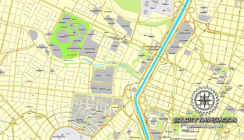 Medellin Colombia printable vector street City Plan map full