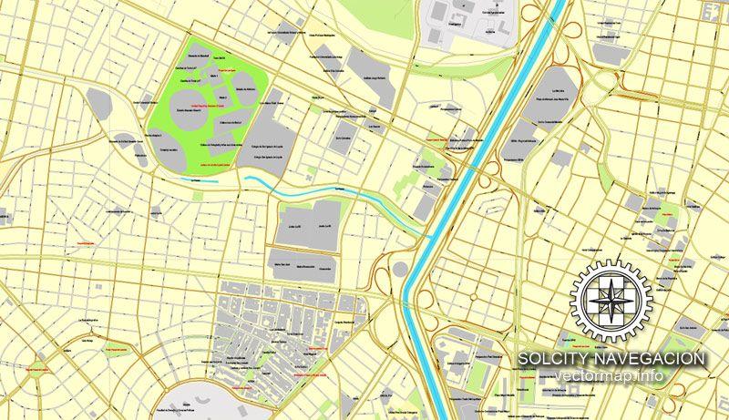 Medellin Colombia printable vector street City Plan map full