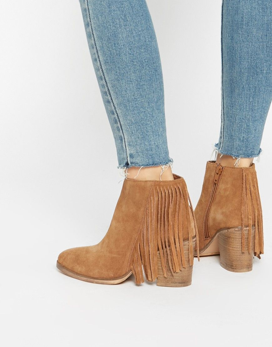 ASOS - RILEY - Bottines en daim à franges style western