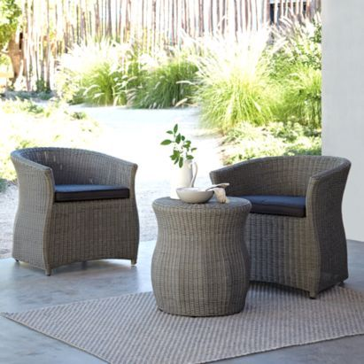 Comoro Rattan Effect Bistro Set Grey Includes Cushions