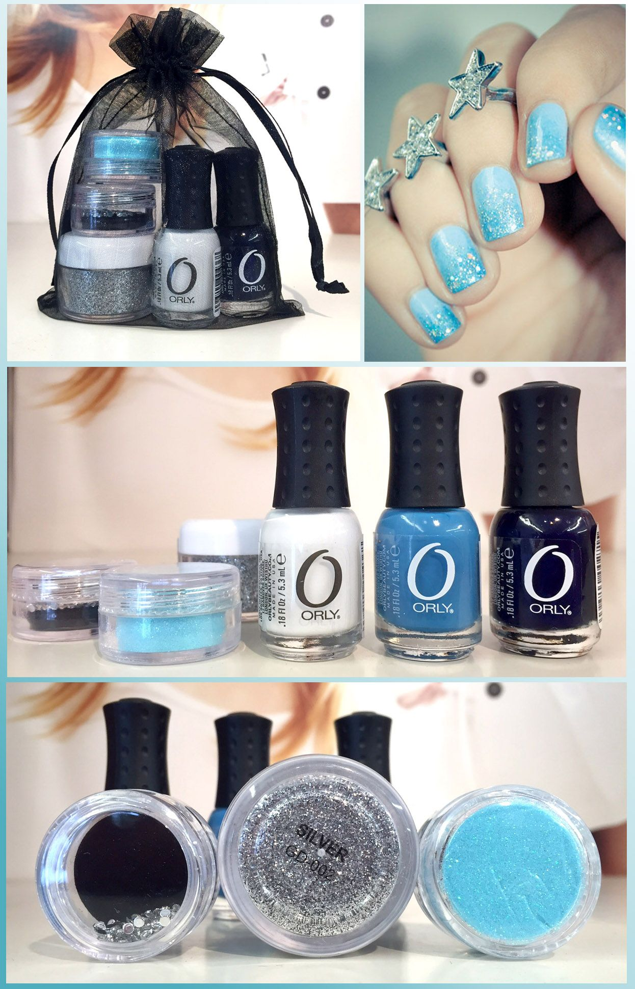 Mini Orly nail polish, glitter and rhinestone gift set. Perfect for ...