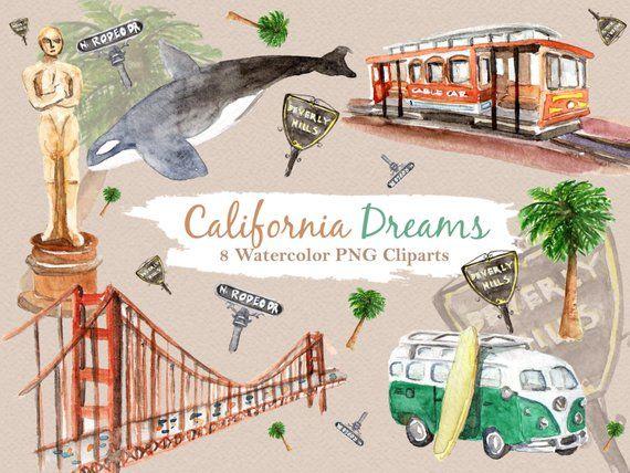 California usa. Clipart watercolor digital download