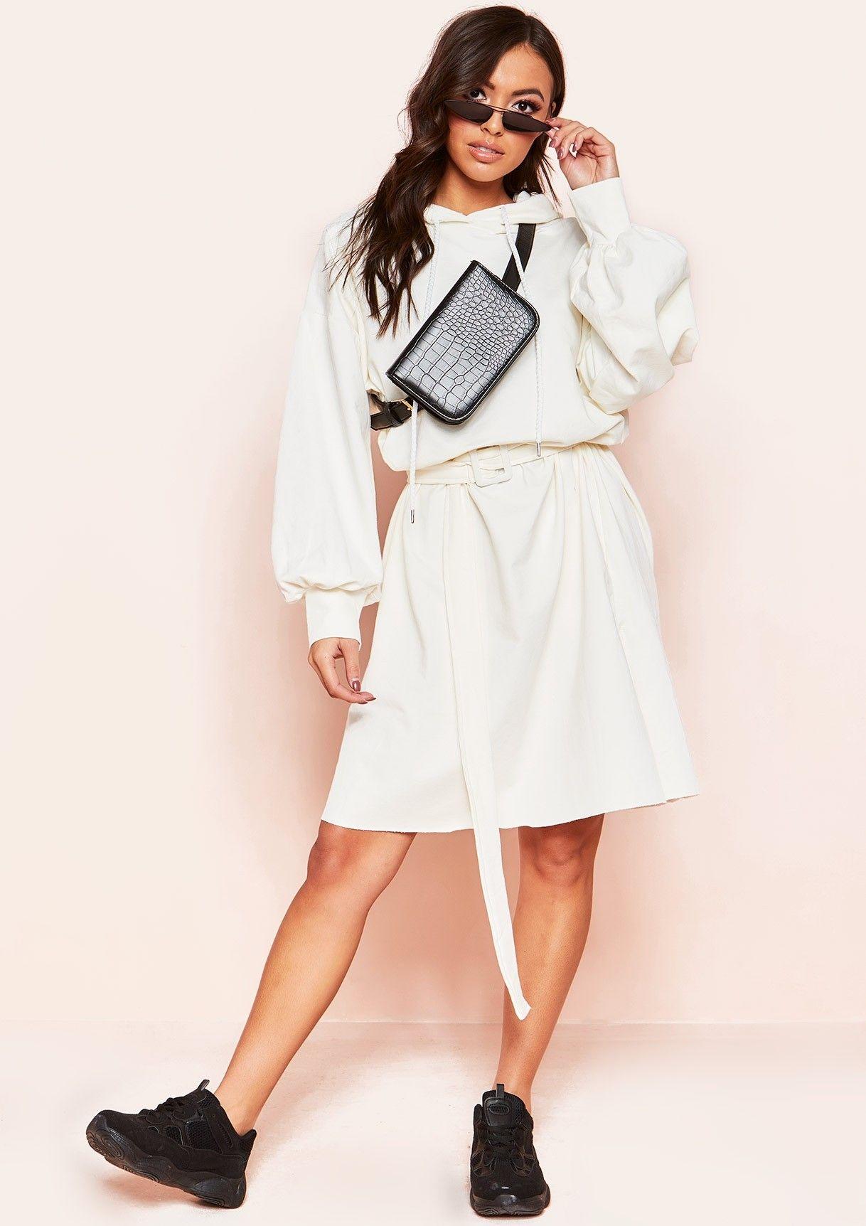 ccce342a3b8 Missyempire - Laila Cream Belted Hooded Jumper Dress
