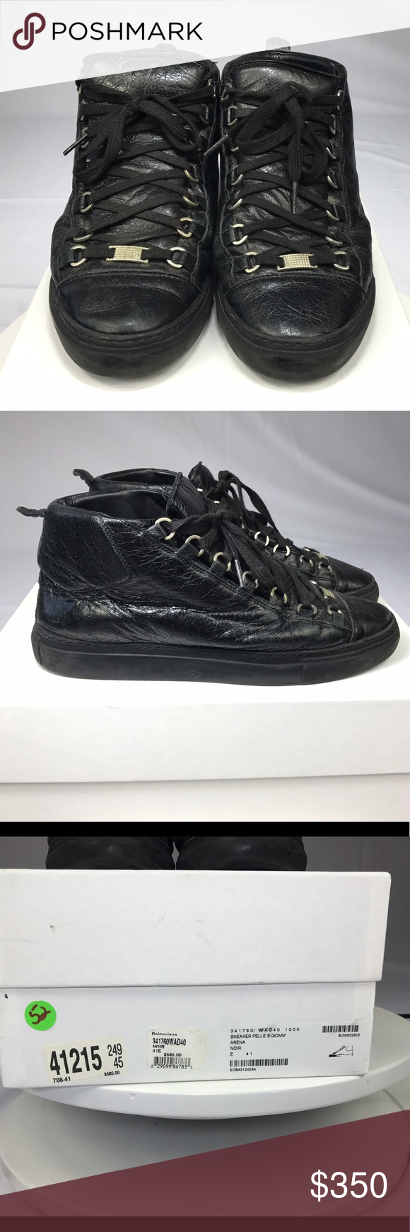 cb90ac281a376 Balenciaga Arena Sneakers (Black) Size 41 Black Balenciaga Arena Sneakers.  Size 41. My US men s shoe size is 9. These shoes are used but still in  great ...