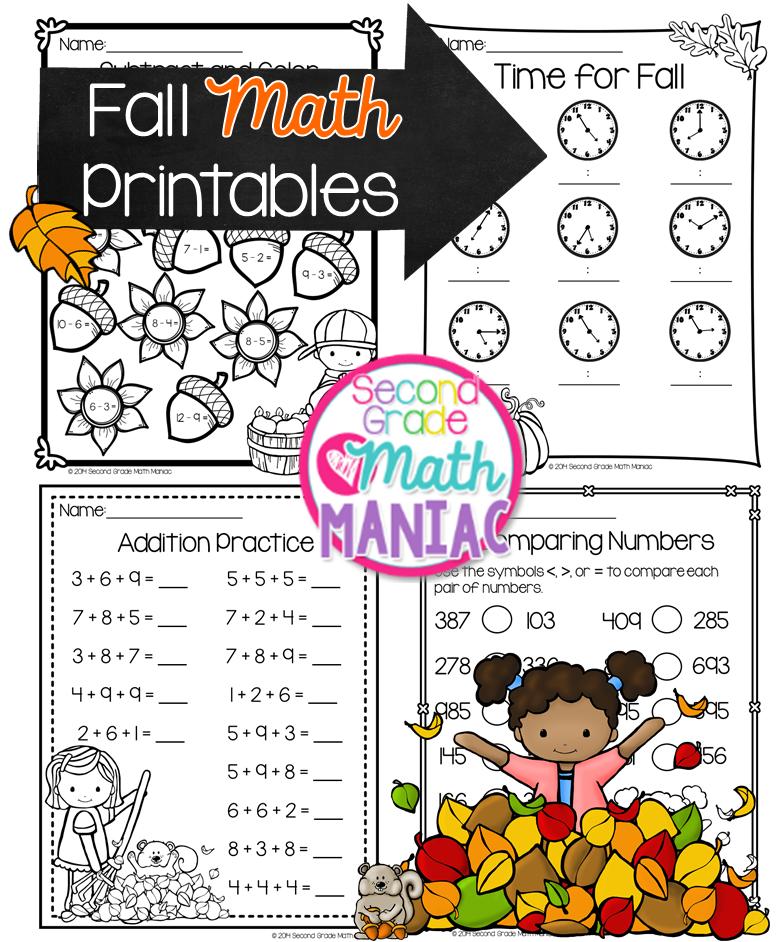 Second Grade Math Maniac: Fall Math Printables FREEBIE :) | Math ...