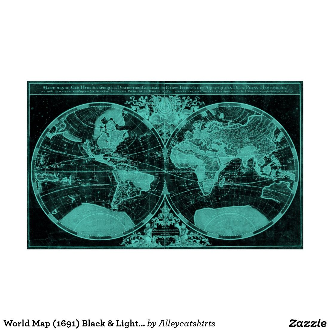 World map 1691 black light blue poster colorful world maps world map 1691 black light blue poster gumiabroncs Choice Image