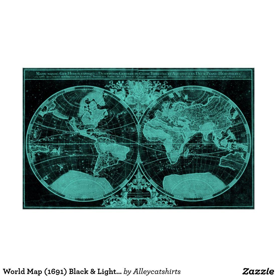 World map 1691 black light blue poster blue poster and black world map 1691 black light blue poster gumiabroncs Gallery