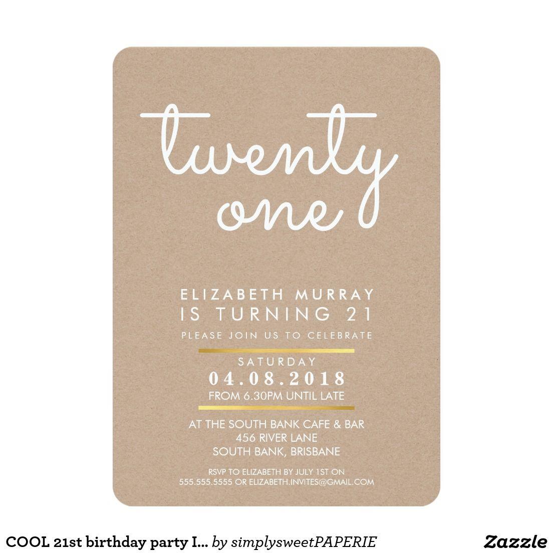 COOL 21st birthday party INVITE rustic kraft white