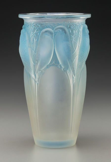 R. Lalique Opalescent Glass Ceylan Vase Circa 1924. Wheel carved R. LALIQUE FRANCE, engraved No. 905 M p. 418 No. 905. Ht. 9-1/2 in.