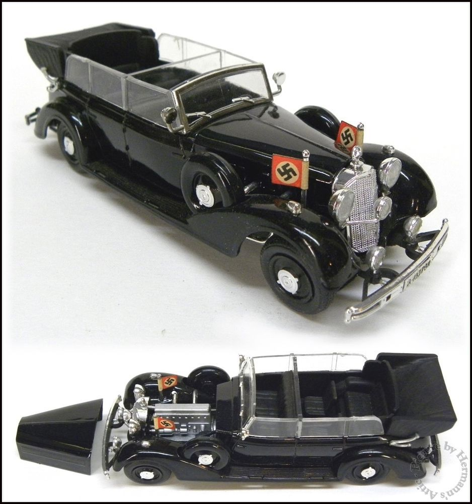 Hitler's NAZI Staff Car, 1937 Mercedes Benz Cabriolet 1:43 Scale Die Cast Toy Car by RIO.  Made in Italy #RIO #MercedesBenz