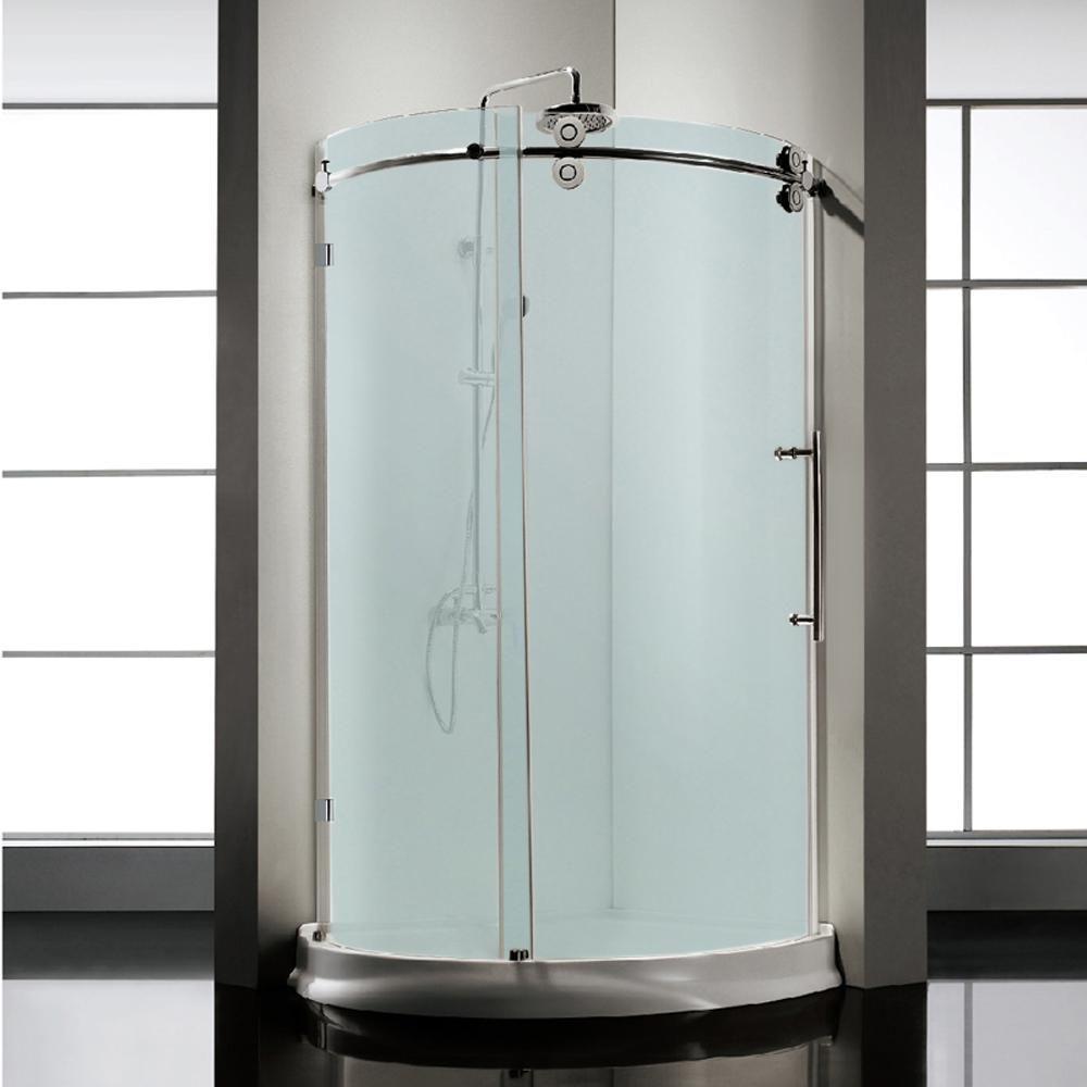 Dreamwerks 36 In X 79 In Frameless Sliding Frosted Glass Shower