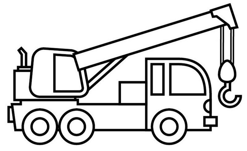 Crane Truck Coloring Pages in Realistic and Cartoon