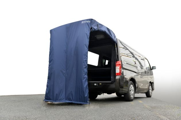 車に被せるだけの簡易テント:ESバックドアテントがモデルチェンジしました!|トランポ(ハイエース他)内装設計・カスタム施工・製造販売「オグショー」|do-blog(ドゥブログ)