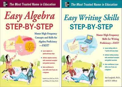 Take it step-by-step for success in algebra & writing skills! The quickest route to learning a subject is through a solid grounding in the basics. So what you won't find in Easy Algebra & Easy Writing Skills Step-by-Step is a lot of endless drills. Instead, you get a clear explanation that breaks down complex concepts into easy-to-understand steps, followed by highly focused exercises that are linked to core skills - enabling learners to grasp when and how to apply those techniques.