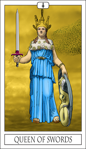 The Queen Of Swords Is The Card Of Emotional Intelligence Represented By Athena Parthenos Athena Was Birthed From The Head Of Zeus Connecting Her With