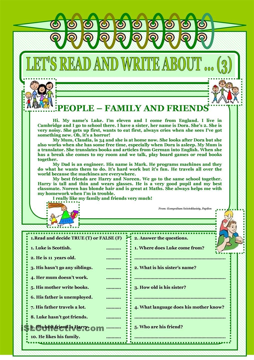 worksheet Family And Friends 1 Worksheets read and write about 3 family friends english worksheet free esl printable worksheets made by teachers