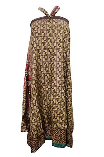 Women's Wraps Skirt Brown Two Layer Reversible Silk Sari Boho Long Skirt Mogul Interior http://www.amazon.com/dp/B01CAA9CVU/ref=cm_sw_r_pi_dp_Dv70wb0AH4Y88