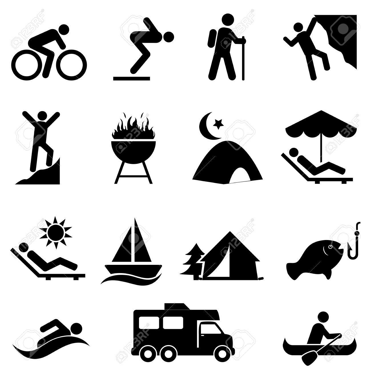 Outdoor Freizeit Und Erholung Icon Set