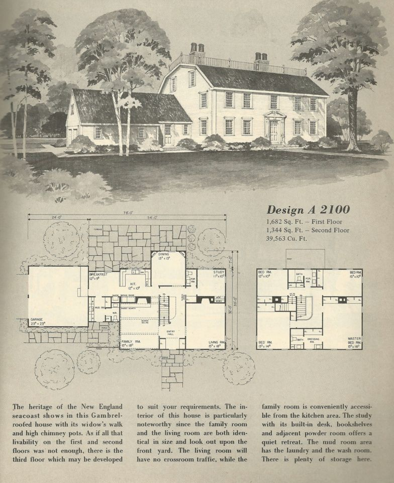 Vintage Home Plans Gambrel 1 Colonial House Plans Vintage House Plans Farmhouse Floor Plans