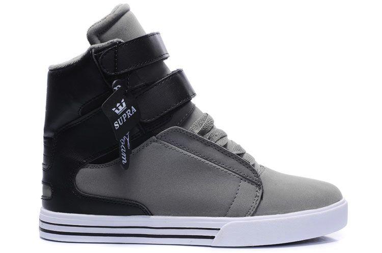 Supra High Tops In Grey Black White $56