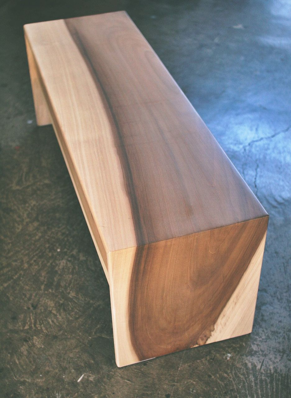 Modern Minimalist Hardwood Bench and Coffee Table // Wood Waterfall ...
