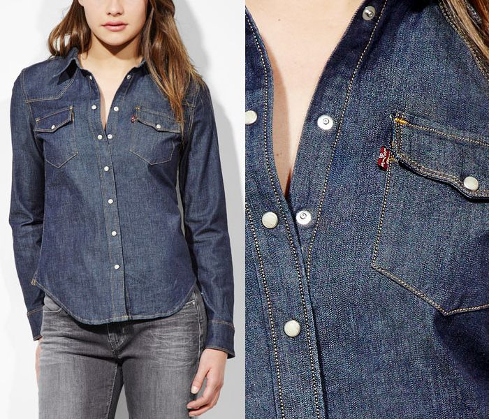 cb5c6d4db8d (11) Western Denim Shirt w Double-Pointed Snap-Flap Pockets - Levi s 2013  Spring Womens Made in Denim Picks