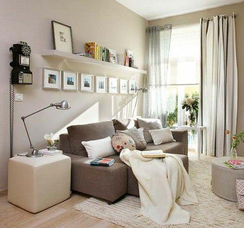Wohnzimmer Einrichtung Wandregale Weiß Hocker Quadratisch Urban Deko