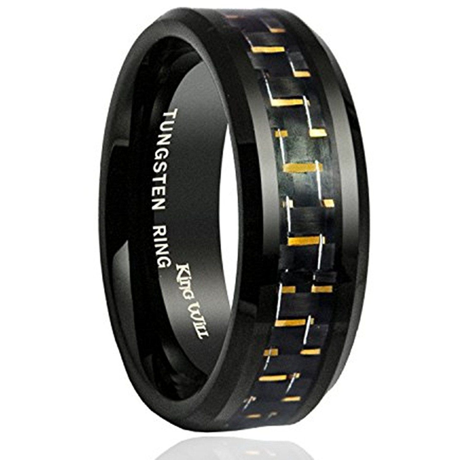 King Will 8mm Mens Tungsten Ring Wedding Band Black and