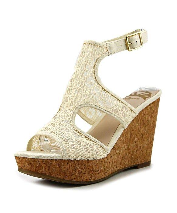 84b956f0c3 Fergalicious Kendra Women Open Toe Canvas Ivory Wedge Sandal | aaa ...