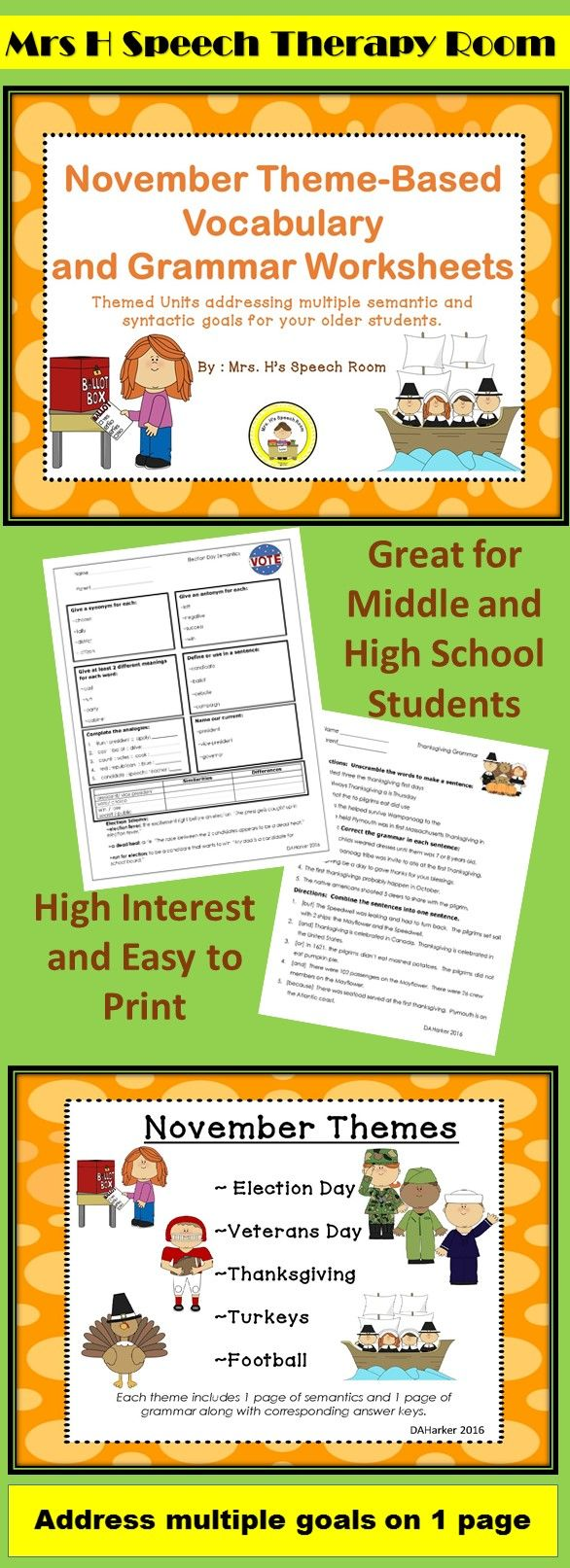 Middle And High School Theme Based High Interest Easy To Copy No Prep High School Speech Therapy School Speech Therapy Speech Therapy Themes [ 1613 x 586 Pixel ]